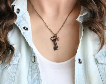 Bronze Key Necklace - Faceted Glass Necklace, Bronze Necklace, Bronze Jewelry, Simple necklace, Pendant Necklace, Vintage Inspired, Boho