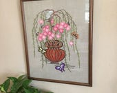SALE Vintage Crewel Embroidered Picture • Asian Boho Decor  • Pink Flowers  • Butterflies