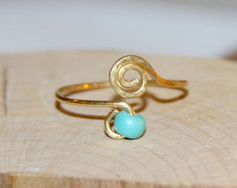 Turquoise Toe Ring, Adjustable Toe Ring, Knuckle Ring, Midi Ring, Turquoise Ring, Handmade Ring