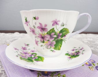 Royal Albert Purple Violets Floral English Bone China Teacup and Saucer