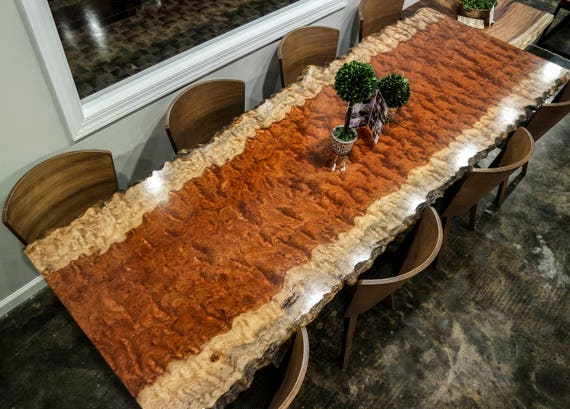 SALE! Extremely Rare Waterfall Bubinga Live Edge Dining Table
