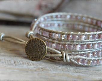 Beaded Wrap Bracelet, Leather Wrap Bracelet, Beaded Leather Wrap, Boho Style Wrap Bracelet, Wrap Bracelet,  Handmade Bracelet