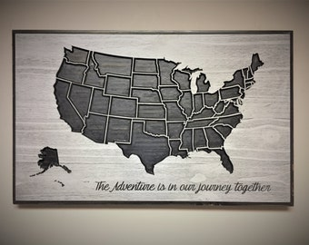 Travel Wall Decor, Adventure Map, Wooden US Map, Wood wall art, Home Wall Decor, United States Map with States, Vintage Map, Travel Sign