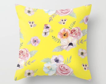 Throw Pillow - Watercolor Floral I - Bright Yellow Pink - Square Cover 16x16 18x18 20x20 24x24 - Insert Optional