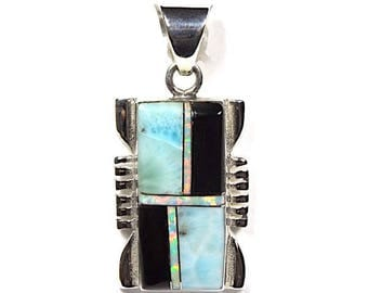 Natural AAA Quality Dominican Larimar, Black Onyx, & Fire Opal Inlay 925 Sterling Silver Pendant