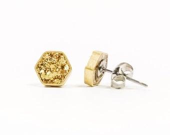 Hexagon Stud Earrings Gold Glitter Studs Gold Hexagon Earrings Sparkly Studs Glitter Earrings Geometric Studs Brass Earrings