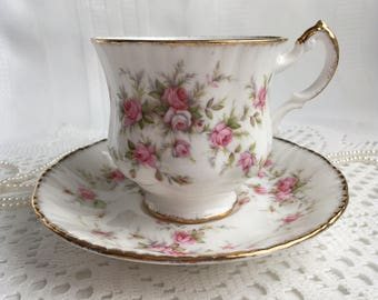 Reserved Paragon China Tea Cup and Saucer, Victoriana Rose, Pink Roses with Gold Trim