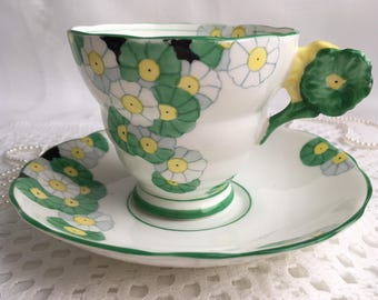 Rare Radfords Bone China, Fenton Tea Cup and Saucer, Cotswold, Flower Handle, Green and Yellow Floral, 1928-37