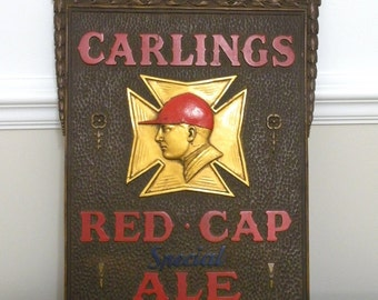 Antique and Vintage Advertising Sign Genuine Carling's Red Cap Special Ale Beer Sign Canada
