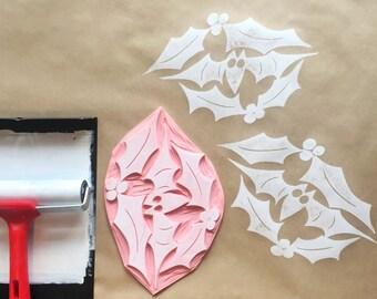 Large Christmas printing block, large size bat and holly stamp, printing block, DIY wrapping paper, wrapping paper stamp, gift wrap stamp