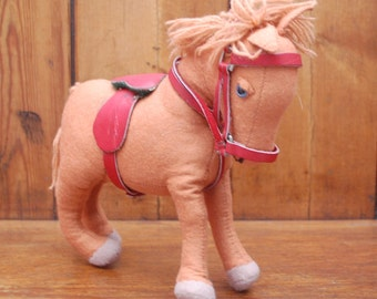 Vintage Soft Toy Felt Horse with Leather Saddle and Tack