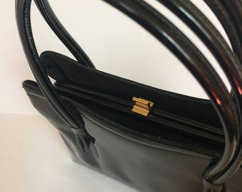 Vintage lewis handbag black patent leather 1950's 1960's