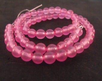 6MM Pink Jade Round Ball Beads