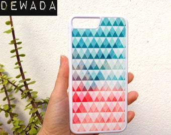 Geometric iPhone 7 plus case - Available for iPhone 7, iPhone 6s plus, iPhone 5, iPhone SE - blue and pink triangles - geometric pattern