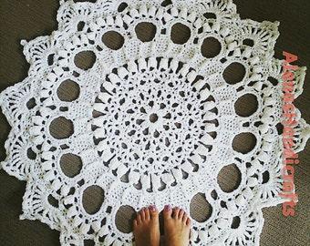 Crocheted Doily Rug Splendid Snowflake