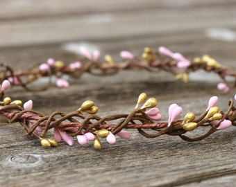 Blush and Gold Berry Hair Wreath Rustic Crown Gold Pip Berry Hair Flower Crown Girls Flower Crown Toddler Crown Bridal Hair Boho Baby Shower