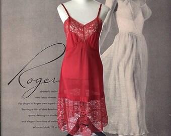 Vintage Lingerie Full Slip Red Underwear 60's Richform Lingerie Lace Bodice and Hem Nightgown Red Slip Dress Boudoir Size 36