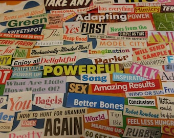 84 Colorful Words and Phrases From Vintage and Recent Sources Collage Mixed Media Altered Art Journals