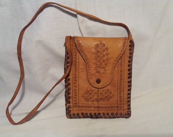 Vintage Handmade Light Brown Camel Leather Wallet - Large Size - NEW