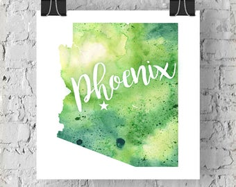 Custom Arizona Map Art, Arizona Watercolor Heart Map Home Decor, Phoenix or Your City Hand Lettering, Personalized Giclee Print, 5 Colors
