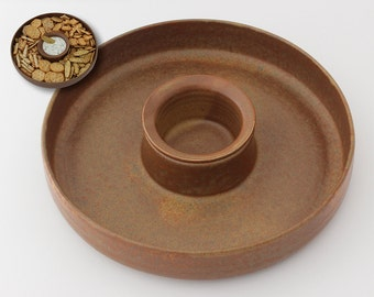 Unique design serving dish, Chip and dip bowl, Handmade ceramic dipping dish, Housewarming gift, Cheese platter, Serving tray  (No. N-wpl-7)
