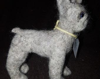 Needle Felted OOAK Small Grey French Bulldog Felting/gift