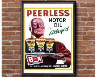 BA Oil Peerless Motor Oil 1947 Poster