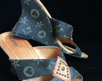 1990's Faux Vuitton Wedge Heels