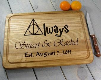 Personalized Cutting Board Wedding Gift Always Harry Potter Cutting Board Custom Engraved Cutting Board Bridal Shower Anniversary Gift