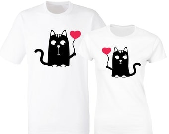 Valentine's day His and Her matching white t-shirts with cats.