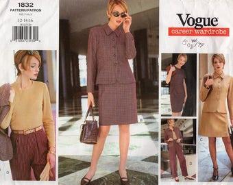 Free Us Ship Sewing Pattern Vogue 1832 Retro 1990s 90's Career Wardrobe Suit Jacket Skirt Dress Pants Size 12 14 16 Bust 34 36 38 Uncut