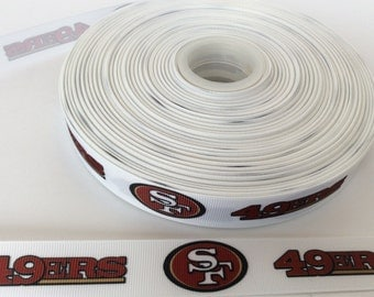 San Francisco 49ers  Grosgrain ribbon, San Fran ribbons, Football Ribbons, football ribbons, yardline ribbons, 7/8 inch Grosgrain ribbons