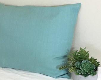 Moss Green Linen Euro Sham Cover, All Sizes Available, Spring Feel All Year Around!