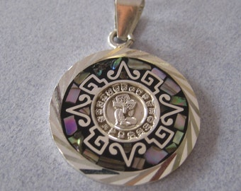 Mexican 950 Sterling Silver Taxco Abalone Shell MAYAN Habb Calendar Aztec Shiny Pendant