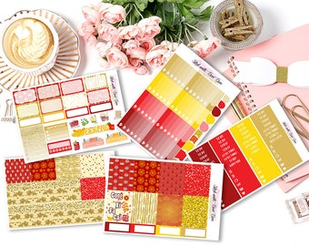 Chinese New Year 2017 Kiss-cut weekly kits planner stickers || Erin Condren planner vertical layout