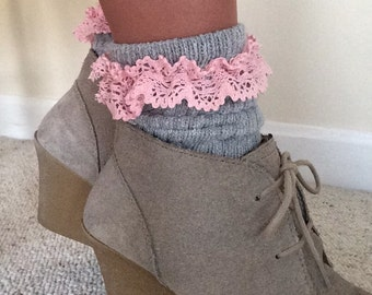Lacy Grey Slouch Socks, Grey Slouch Socks with Pink Lace Detail