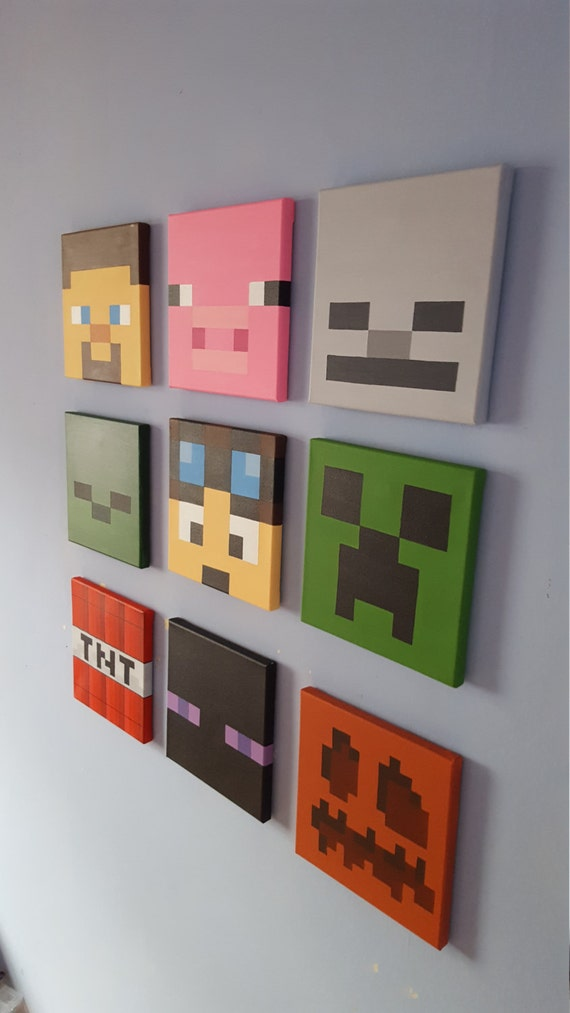 minecraft wall art set of 9 canvases small 8 x. Black Bedroom Furniture Sets. Home Design Ideas