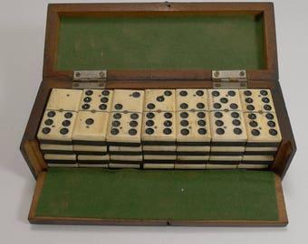 Boxed Set Antique English Bone and Ebony Dominoes c.1900