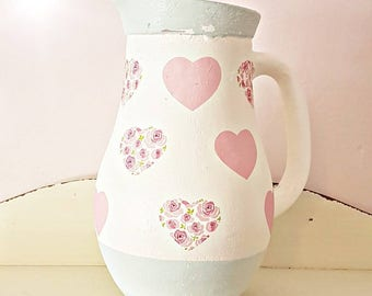 Heart vase, heart jug, pink floral hearts, floral vase, pink and sage green, shabby chic home, gift for new home, pretty vase, gift for her
