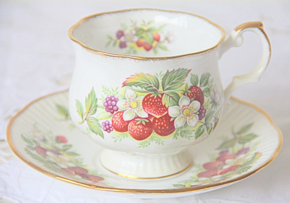RESERVED FOR BYR Vintage Queens Rosina Bone China Cup and Saucer, Strawberry Decor, England