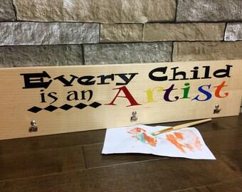 Artwork Hanger/Hanger/wood sign/laser engaved/painted/sealed