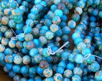 "6mm Smooth Light Blue Sea Sediment Jasper Beads, 15"" strand |  Round Imperial Jasper | Aqua Terra Jasper | Blue Stone Beads | #R6S-053"