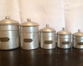 SALE - Five Vintage French Kitchen Canisters