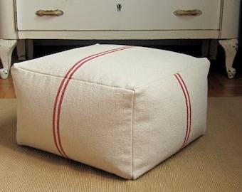 Striped square pouf ottoman, 18.5x18.5x10.5, red stripe grain sack pouf, farmhouse pouf, cottage pouf, shabby chic pouf, striped ottoman