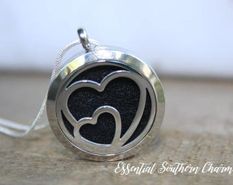 Essential Oil Diffuser Necklace Stainless Steel locket Sterling Silver Chain hearts 30mm