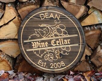 Wine Cellar Sign Vineyard Wedding Bar Sign Wine Barrel Decor Winery Personalized Bar Sign Gift Barrel