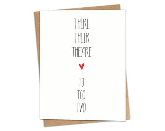 There Their They're To Too Two Greeting Card SKU C159