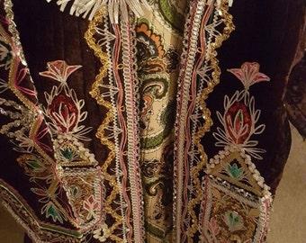 Antique 19C Traditional Albanian Women's Wedding Jacket Jelek Hand Embroidered