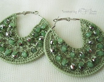 Crochet hoop earrings in pea green color Decorated with shiny green beads in Bohemian style, Feminine jewelry