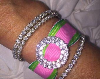 Preppy Pink and Green Rhinestone Bracelet